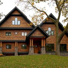 Cedar Shingle Siding, Cedar Shake Siding, Cedar Shingles, Log Cabin Exterior, Craftsman Exterior, Modern Farmhouse Exterior, Grey Siding House, Exterior House Siding, Exterior Stain