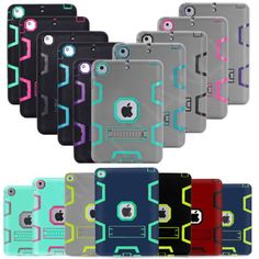 Shockproof iPad Case Heavy Duty Rubber with Hard Stand Case Cover for Apple iPad