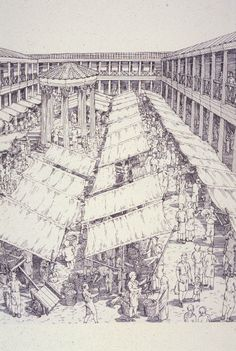 "A macellum is an ancient Roman indoor market building that sold mostly provisions. The building normally sat alongside the forum and basilica, providing a place in which a market could be held. Image from ""City: A Story of Roman Planning and Construction"" by David Macaulay."