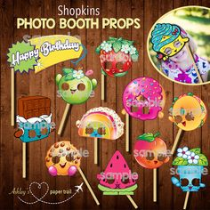 These Shopkins photo booth props are perfect for your little ones birthday celebration! Simply add a stick and you are ready to take some 5th Birthday Party Ideas, Birthday Photo Booths, 8th Birthday, Birthday Celebration, Fete Shopkins, Shopkins Bday, Just In Case, Birthdays, Adorable Pictures
