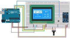 Circuito Arduino display LCD 128x64 e DS3231