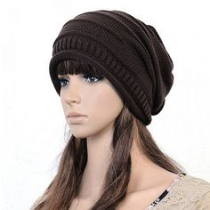 Wholesale Unisex Winter Plicate Baggy Beanie Knit Crochet Ski Hat Oversized Cap  Hat Warm Coffee Beanie ba61629fb64a