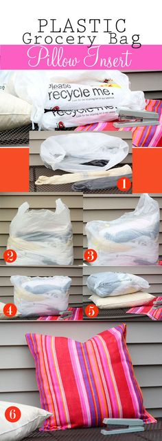 How to Make an Outdoor Pillow Using Plastic Grocery Bags. This is so clever!