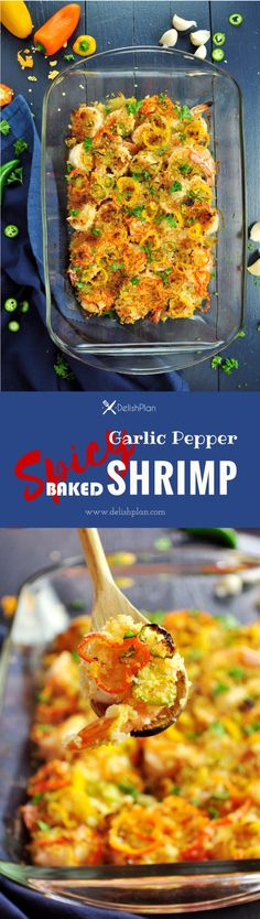 This recipe features a crispy layer of bread crumbs combined with spicy and sweet peppers on top of perfectly baked shrimp with a garlicky kick. Kitchen Recipes, Cooking Recipes, Healthy Recipes, Delicious Recipes, Sweets Recipes, Keto Recipes, Easy Family Meals, Family Recipes, Easy Meals