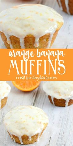 Orange Banana Muffins with Sour Cream Glaze Give these Orange Banana Muffins a try. Sour cream glaze makes them extra special. -from Creations by Kara Brunch Recipes, Cake Recipes, Breakfast Recipes, Dessert Recipes, Donut Recipes, Dinner Recipes, Köstliche Desserts, Delicious Desserts, Yummy Food