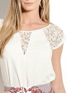 Blusa Colcci com Renda Off White - Posthaus Blusa Colcci com Renda Off White - Posthaus Dress Outfits, Casual Outfits, Fashion Outfits, Womens Fashion, Blouse Styles, Blouse Designs, Sewing Blouses, Batik, Couture Tops