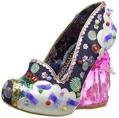 Womens Irregular Choice Rain Bunny Heels Rabbit Rainbow Court Shoes - Navy - 9 $180.40