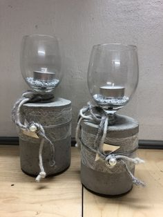 Mason Jar Wine Glass, Concrete, Diy And Crafts, Coffee Maker, Vase, Tableware, Kindergarten, Nails, Cement