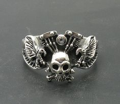 R000738 STERLING SILVER Biker Ring Solid 925  Skull with two Eagles
