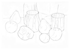 Now lightly sketch in the shapes of any shadows or reflections onto each object.