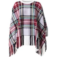 Chloe' Plaid Wool and Cashmere-Blend Poncho ($1,235) ❤ liked on Polyvore featuring outerwear, poncho, tops, rosso, wool poncho, tartan poncho, woolen poncho and plaid poncho