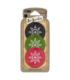 Jar Jewelry Lid 3 Pack-Snowflake