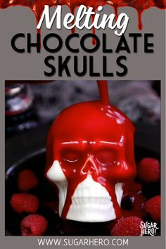 Melting Chocolate Skulls – white chocolate skulls filled with brownies and raspberries. Pour blood-red ganache on top to reveal the goodies inside! | From SugarHero.com #sugarhero #halloween #skull #halloweendessert