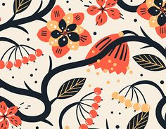 Vector collection of abstract and stylised floral patterns with colourful geometrics, fantasy flowers and birds.