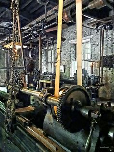 Fine Art Prints Available! - 'Large Lathe In Machine Shop' - A lathe is a machine tool which rotates the workpiece on its axis. It creates an object which has symmetry about an axis of rotation. The lathe bed of this lathe on this is over 19 feet. #machinist #machineshop #lathe AS LOW AS $37