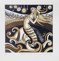 Zennor Mermaid  Relief / Letterpress Print by sarahyoung5 on Etsy, $62.00