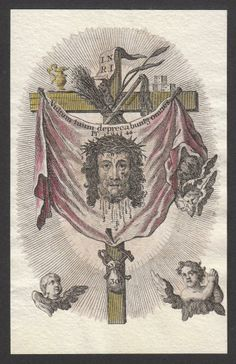 "theraccolta: ""All the rich among the people, shall entreat Thy Countenance. Catholic Art, Religious Art, Veil Of Veronica, St Raphael, Vintage Holy Cards, Jesus Face, The Cross Of Christ, Arte Horror, Sacred Art"