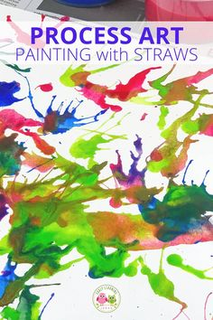 Blow painting with straws is an exciting and creative process art project for kids.  Your kids will love these straw blown paintings!.  Straw painting is an easy art project for kids in preschool, pre-k or a home.  Make monsters, ocean coral, germs, peacock or just let them create open-ended art.  Paint on canvas or paper....includes ideas for experimenting. Fall Art Projects, Projects For Kids, Crafts For Kids, Children Crafts, Fine Motor Activities For Kids, Creative Activities, Steam Activities, Preschool Activities, Process Art Preschool