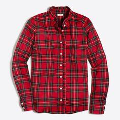 Plaid ruffle shirt : button-downs   J.Crew Factory