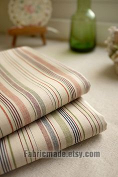 For kitchen curtains.  Beige Fabric  Stripe Cotton Cotton Fabric Blue Green by fabricmade, $5.00