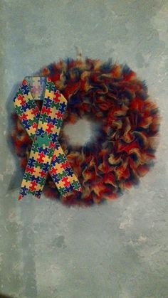 Hey, I found this really awesome Etsy listing at https://www.etsy.com/listing/290206237/autism-awareness-tulle-wreath