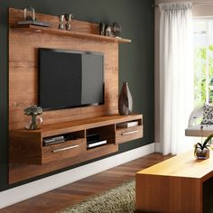 On the wall tv cabinet cabinet design living room designs para led wall unit for stand Tv Unit Interior Design, Tv Unit Design, Tv Wand Klein, Tv Rack Design, Wall Mounted Tv Unit, Tv Wanddekor, Tv Unit Decor, Modern Tv Wall Units, Wall Units For Tv