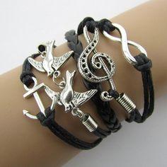 Charm vintage braided bracelets