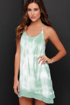 Mint Tie-Dye Dress - Halter Dress - Strappy Tie-Dye Dress - $70.00