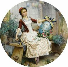Decoupage Plates, Decoupage Vintage, Victorian Paintings, Victorian Art, Vintage Pictures, Vintage Images, Chanel Wallpapers, Foto Transfer, Old Images