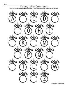 Missing Letter Ornaments Free for writing centre at choice time next year! Alphabet Activities, Classroom Activities, Alphabet Worksheets, Learning Letters, Family Activities, Letter Ornaments, Preschool Christmas, Letter Recognition, Kindergarten Literacy