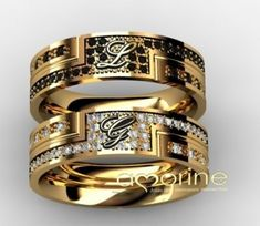 AA Gold Rings Jewelry, Gold Jewellery Design, Silver Jewellery, Vintage Jewellery, Antique Jewelry, Engagement Rings Couple, Couple Rings, Beautiful Wedding Rings, Gold Wedding Rings