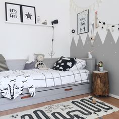 Kids Room Decor Black And White. Girls Bedroom Design And Decorating Turning Attic Into . Desk Under Window Design Ideas. Home and Family Baby Bedroom, Baby Boy Rooms, Home Decor Bedroom, Kids Bedroom, Room Boys, Bedroom Ideas, Playroom Decor, Bedroom Inspiration, Girl Rooms