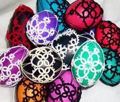 easter eggs in handmade crochet from Poland/   more on frywolitka.pl