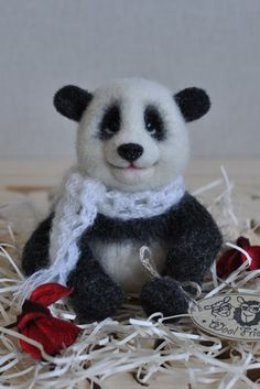 Shop for on Etsy, the place to express your creativity through the buying and selling of handmade and vintage goods. Felt Toys, Panda Bear, Handmade Toys, Needle Felting, Personalized Gifts, Christmas Gifts, Miniatures, Teddy Bear, Dolls
