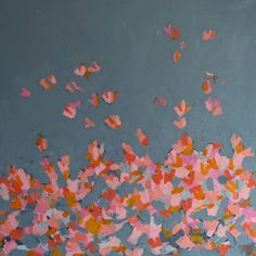 Akryl Butterflies Gray #abstract #art #butterflies #gray #pink #acrylic #painting