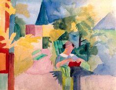 August Macke (German, 1887-1914), Garten mit lesender Frau (am Thuner See), 1914. Watercolour on paper