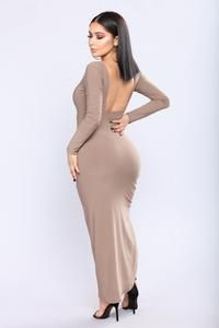 Available In Mocha And Red Asymmetric Dress Long Sleeve Open Back Ruched side Polyester Spandex Made In USA Satin Dresses, Sexy Dresses, Nice Dresses, Evening Dresses, Sexy Outfits, Fashion Outfits, Sexy Women, Women Wear, Hot Dress