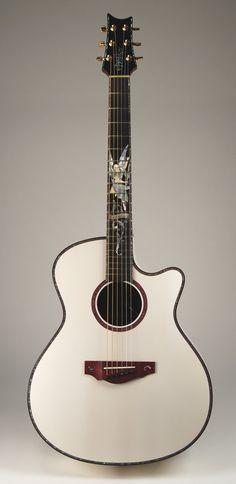 warrior - custom shop acoustic. white gabriel concert guitar.