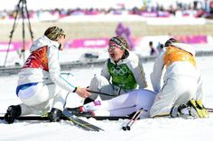 Ida Ingemarsdotter, Emma Wiken, Charlotte Kalla, and Anna Haag of Sweden win the gold medal in the women's 4x5-kilometer relay.