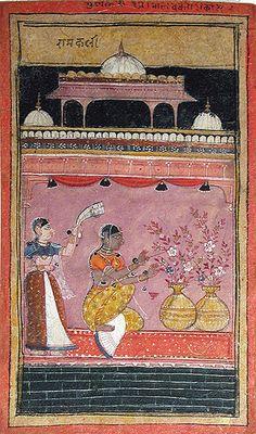 ca. 1600 Gunakali Ragini, arranging flowers, the 2 vases symbolize her and her lover.