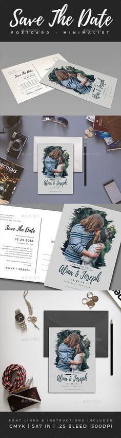 Elegant Minimalist Save The Date Postcard Template PSD. Download here: https://graphicriver.net/item/elegant-minimalist-save-the-date-postcard-3/17105446?ref=ksioks