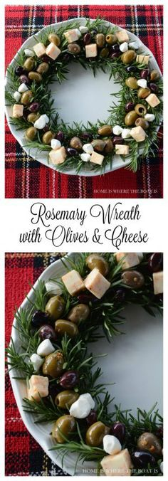 the Season: Recipes and Inspiration for Christmas Entertaining Rosemary Wreath with Olives & Cheese. An easy and festive Holiday recipe.Rosemary Wreath with Olives & Cheese. An easy and festive Holiday recipe. Christmas Entertaining, Christmas Party Food, Xmas Food, Christmas Cooking, Christmas Goodies, Christmas Cheese, Spanish Christmas Food, Christmas Catering, Christmas Sangria