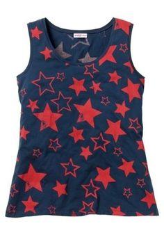 Sheego Trägertop / Shirt , Sternen Druck / U.S.A , Marine / Rot  Neu 44 in Kleidung & Accessoires, Damenmode, Blusen, Tops & Shirts | eBay!