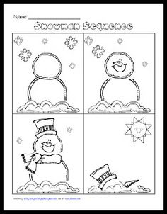 sequencing the life of a snowman. A fun activity for the winter time. Repinned by SOS Inc. Resources pinterest.com/sostherapy/.
