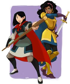 Disney princesses as their princes. Fa Mulan as Li Shang and Esmeralda as Phoebus. Can't look more badass! Favourite Disney Ladies and Guys Disney Nerd, Disney Fan Art, Disney Girls, Disney Love, Disney Magic, Funny Disney, Disney Stuff, Disney And Dreamworks, Disney Pixar