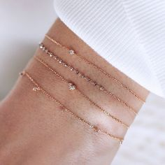 Oh how we love these delicate bracelets Absolutely one of our favorites For more - click the link in Stylish Jewelry, Cute Jewelry, Modern Jewelry, Jewelry Accessories, Fashion Jewelry, Dainty Diamond Necklace, Delicate Jewelry, Ankle Bracelets, Jewelry Bracelets