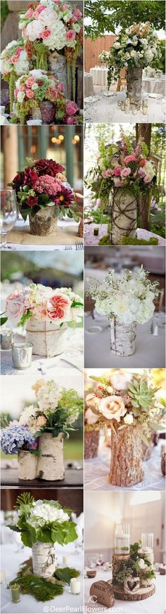 Rustic Country Bark Container Wedding Centerpieces / http://www.deerpearlflowers.com/rustic-wedding-centerpieces-with-bark-container/