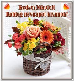 névnap, Nikolett, szöveges, képeslap, virágok, köszöntő,