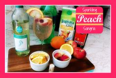 Sparkling Peach Sangria with White Wine. Mommy Juice. Summer time drinks. Cocktail. Easy to make. White wine, sprite, peach juice or peach schnapps, and garnish with white peaches and oranges. Impress your friends today, click the pic to see how! Wine punch.
