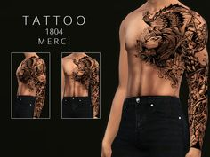 sims 4 cc // custom content tattoo accessories // The Sims Resource // Merci's Tattoo 1804 Sims 4 Men Clothing, Sims 4 Male Clothes, Sims 4 Hair Male, Sims 4 Body Mods, Los Sims 4 Mods, Sims 4 Game Mods, Sims 4 Piercings, Maxis, Sims 4 Tattoos